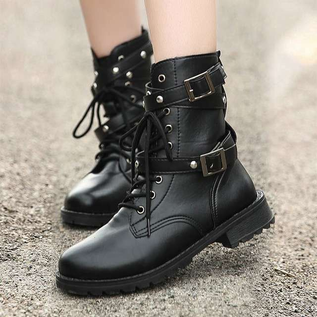 Shop Grunge Low Heel Ankle Boots